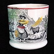 SALE Antique Childs Mug ~ Milkmaid & Cows