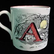 SALE Child's Pearlware A + B Mug ~ Apple + Ball