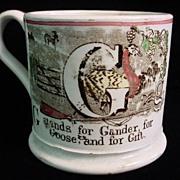 SALE Antique 1840 Child's ABC Mug ~ G + H
