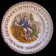 SALE ABC Plate ~ Crusoe and his Pets 1880