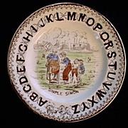 SALE ABC Plate ~ Simple Simon 1880