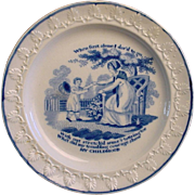 SALE Pearlware Child's Plate ~ My Childhood 1820