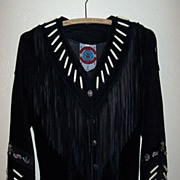 SALE Ren Ellis Black Fringed Suede Leather Jacket With Beadwork.
