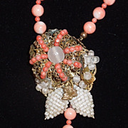 SALE Beaded Angel Skin Coral Necklace With Ornate Centerpiece