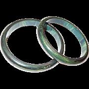 Pair of Spinach Green Bakelite Bangle Bracelets
