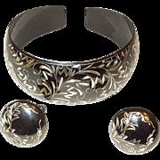 Vintage Sterling Silver and Black Enamel Cuff Bracelet and Earrings