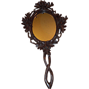 SALE Beautiful Black Forest Carved Wooden Hand Mirror