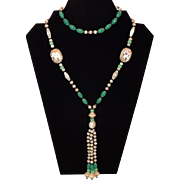 C. 1920's Nephrite, Jadeite and Ivory Glass Lavalier Necklace