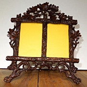 SOLD Black Forest Wood Hand Carved Double Frame Germany