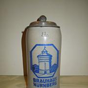 SALE c.1899-1900  Brauhaus Nurnberg Lidded Stein