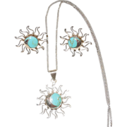 Vintage Sterling Silver and Turquoise Necklace and Earrings