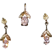 Vintage 10k, 14k and Rose Quartz Black Hills Gold Earrings and Pendant