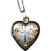 Vintage Sterling Silver Locket with Cross and Matching Earrings