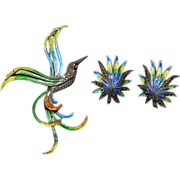 Sterling Silver, Marcasite and Enameled Brooch and Earrings