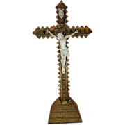 SOLD Late 1800's Tramp Art Crucifix with Bisque Figure