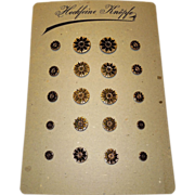 Vintage Store Stock Glass Buttons Card