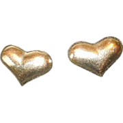 Sweet Vintage 14K Yellow Gold Puffy Heart Post Earrings
