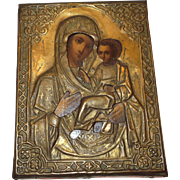 19th Century Russian Icon Mother Mary and Child Jesus