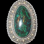 Large Malachite Brooch/Pendant Sterling Israel