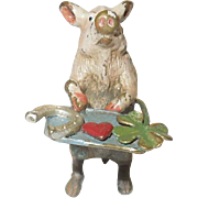 Adorable Miniature Antique Vienna Bronze Pig With Tray of Good Luck