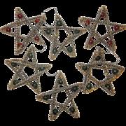 SALE Set of 7 Vintage Glass Star Shaped Ornaments