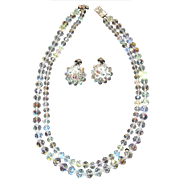Nice Double Strand Aurora Borealis Crystal Necklace with Earrings