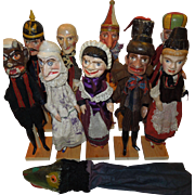 Set of 11 1800's Punch and Judy Hand/Stick Puppets