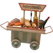 Miniature German Tin Refreshment Cart Made For The English Market