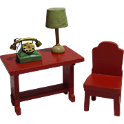 Vintage Dollhouse Telephone Table With Lamp And Metal Phone