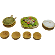 Vintage Dollhouse Miniature Salad Grouping, English