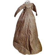 19th Century Handmade  Doll Dress, Sweet Flour Sack Print