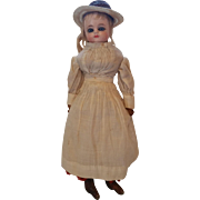 "Sweet 13"" Wax Over Little Girl Shoulderhead Doll, Leather Body, Glass Eyes A/O"