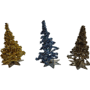 Three (3) Miniature Dollhouse Size Tinsel Trees With Star Bases, Western Germany