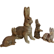 Bunny Rabbit Candy Container + 3 small compo rabbits
