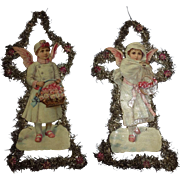 Pair Of German Tinsel Scrap Litho Ornaments- Large Boy And Girl