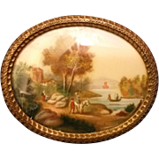 Antique Dollhouse Oval Gilt Framed Print, Curved Glass