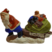 Chalkware Santa Figure With Sleigh And Toys