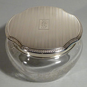 Hawkes Etched Glass Dresser Jar with Blackinton Sterling Lid