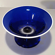 Hadeland Cobalt Glass Footed Compote - Applied White Rim