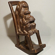 Carved Wood Toy - 3 Wise Monkeys in Rocking Chair