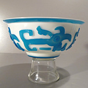 Peking Glass Bowls White with Blue Overlay  - Pair