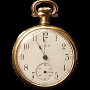 Elgin Antique Ladies Open Face Pocket Watch - 14k Case - 1910
