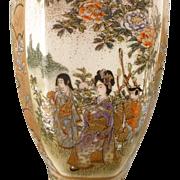 Beautiful Japanese Satsuma 6-Sided Vase - ca 1920