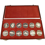 Silver Porsche Calendar Coin Set 1962 - 1973 - Original Case