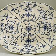 Large Flow Blue Oval Platter Signed Dunn & Bennett & Co.