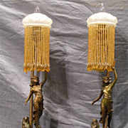 Tall Pair of Art Deco Figural Lamps