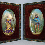Circa 1890.  Gorgeous Hand Painted Pair Porcelain Plaques