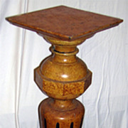 Fine Tall, Art Deco Faux Finish Wood Pedestal Plant Stand