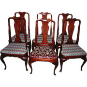 Superb Set of Six Queen Anne Dining Chairs Mahogany