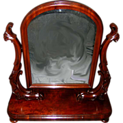 Large, Elegant Victorian Table Top Dressing Mirror